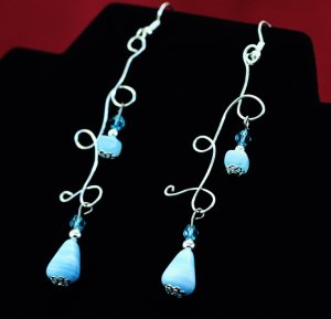 Blue/ Silver FreeForm Dangle Earrings