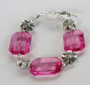 Retro Style Pink & Silver Bracelet