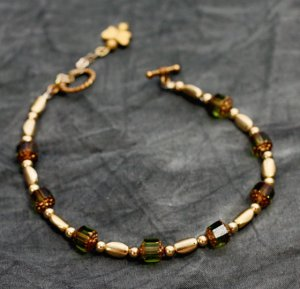 Olivine Cathedral Bead Ankle Bracelet