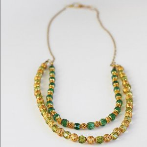 Green & Gold Double Long Necklace