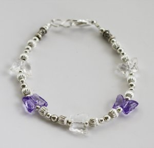Purple & Crystal Butterfly Bracelet