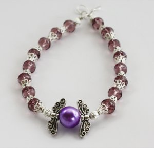 Purple & Silver Wings Bracelet