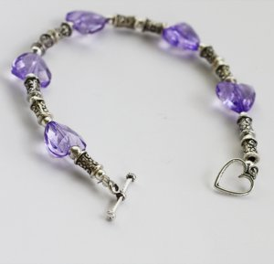 Purple Hearts and Silver Bracelet