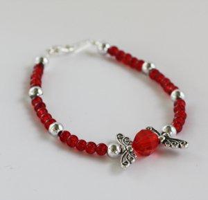 Red Crystal & Silver Wings Bracelet