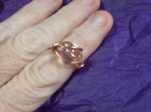 Copper Cosmic  Czech Glass AB  Bead  Ring