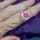 Pink Crackle Glass Galaxy Ring