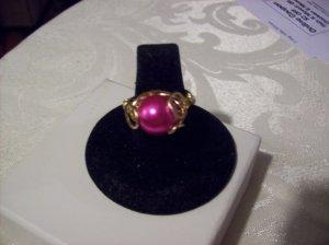 Hot Pink Swarovski Pearl Swirl Ring