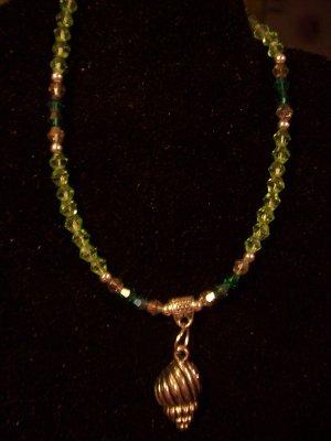 Green Swarovski Crystal  & Seashell Ankle Bracelet