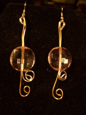 Silver & Gold Pink Disk Dangles