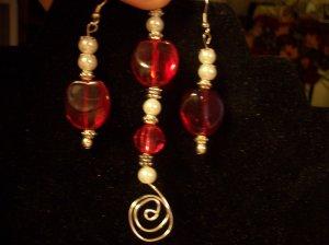 Red & White Earring & Pendant Set