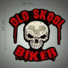 Old skool biker embroidered back patch