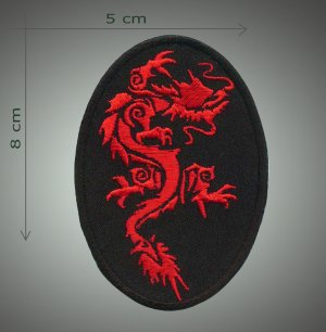 Tribal dragon embroidered patch