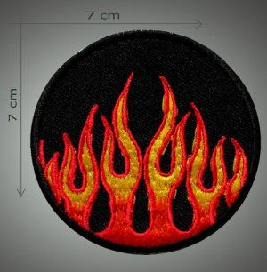 Fire embroidered patch