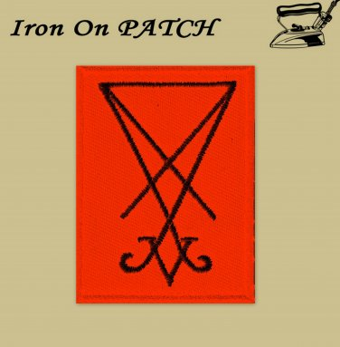 Sigil of lucifer black/red - embroidered patch, 4 X 2,8 (INCHES)