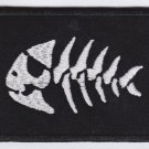 Fish skeleton - embroidered patch, 2,4 X 3,2 (INCHES)