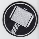 Thors hammer round - embroidered patch, 3,2 X 3,2 (INCHES)