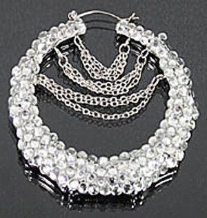 Rhinestone Chain Dangle Bamboo Hoops