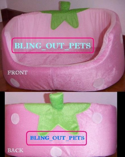Sweet Pink Dog Cat Strawberry Cushion Bed