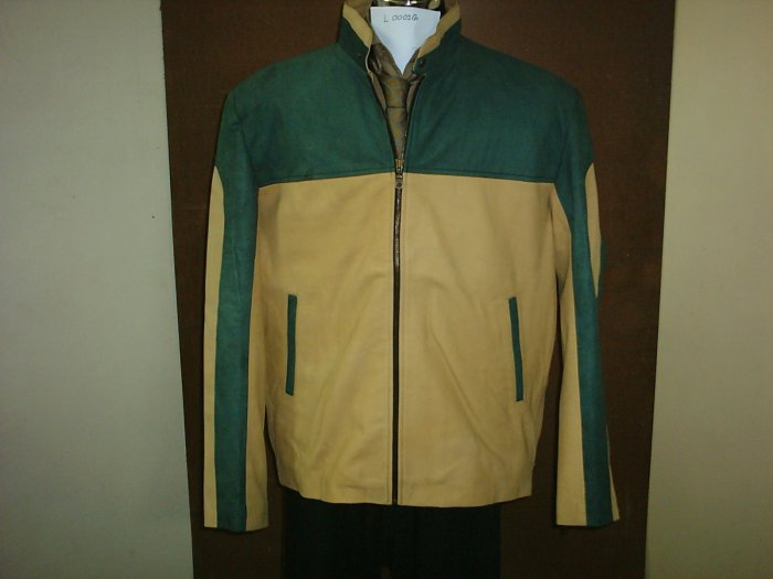 Leather Jacket (Sale 30%Discount on 2+)  Motorbike $250 ,2XL (Green/Cream Brown, SHEEP,ItemNo:L1G)