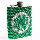 BLING SHAMROCK FLASK Stainless Steel 7 oz