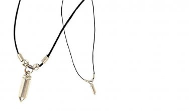 Silver Bullet necklace with chamber on leather cord