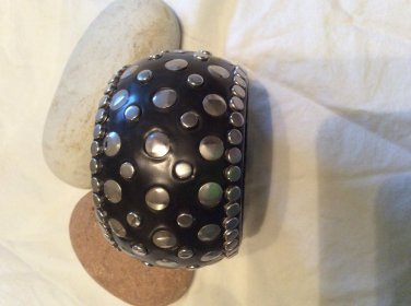 Faux leather and nailhead bangle
