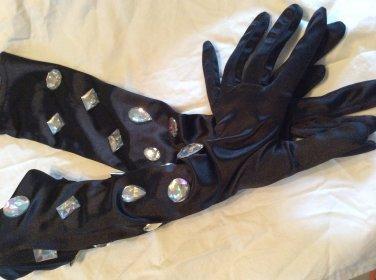 Black rhinestone gloves