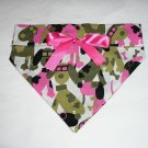 Dog Scarf - Medium - Dog Camo with Pink Bow