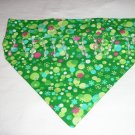 Dog Scarf - Medium - Retro Green with Beads