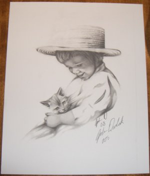 Amish Boy with Cat Numbered Print