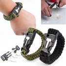 SURVIVAL PARACORD BRACELET OUTDOOR SCRAPER WHISTLE FLINT FIRE STARTER GEAR KITS