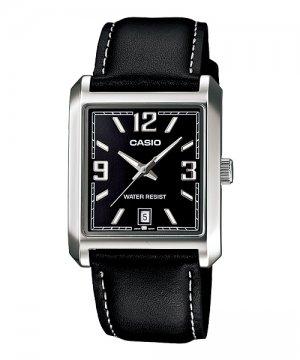 Casio mtp1336l 1a mens square modern dress watch black leather band