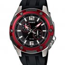 CASIO MTP1326-1A2V MENS MODERN BLACK / RED CASUAL DRESS WATCH RESIN BAND