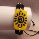 Yellow Tribal Sun Print Leather Bracelet