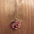 Pink Heart Pendant with Rhinestone Necklace