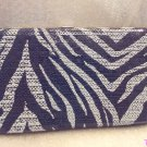 Gray and Black Sequin Zebra Print Flat Clutch Wallet