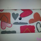 Bi-Fold Women's Clutch Wallet. Very Cute Red/Orange/Pink/Gray Heart Pattern (432ts)
