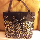 Hobo Style Leopard Print Medium Large Handbag Purse Blue Highlights (504ts)
