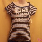Aeropostale - Aero - Navy and White Striped T-shirt - Size Large - New - (609ts)