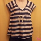 Aeropostale - Aero - Navy and White Striped T-shirt - Size Large - New - (612ts)