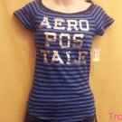 Aeropostale - Aero - Navy and Blue Striped T-shirt - Size Small - New - (621ts)