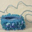 Girls Blue Sequin Purse Beaded Strap Pretty