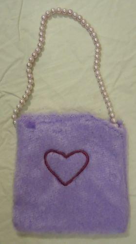 Girls Purple Fuzzy Purse Pearl Strap Heart