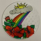 Painted Glass Sun Catcher Rainbow Flowers Sun Qty 6 Window Hang 2 Holes CL6R