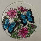 Painted Glass Sun Catcher Butterflys Flowers  Qty 6 Window Hang 2 Holes CL14