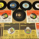Bundle of 11 Miscellaneous 7in Vinyl Records Decca Kapp Almo GNP Starday Records