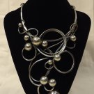 Curly Necklace 10 1/2in x 5in x 1in Metal
