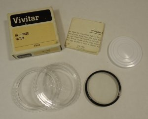 Vivitar UV-Haze Filter with Case Vintage 49mm Glass Metal