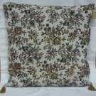 Custom Made Throw Pillow Beige Floral Brocade 16in x 16in  * Fabric