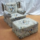 Sears Armchair 37in x 37in x 36in & Ottoman 31in x 23in x 15in Floral Print  Vintage Fabric